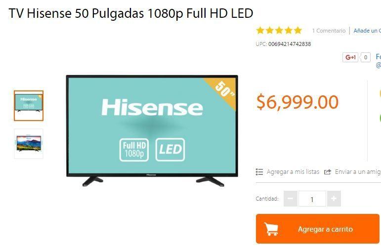 "Walmart en línea: TV Hisense 50"" 1080p Full HD LED a $6,999"