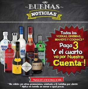 Superama: 3x2 en botellas de vodka, ginebra, brandy y cognac
