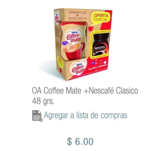 Chedraui Ánfora: Coffee Mate +Nescafé Clasico 48 grs. a $6
