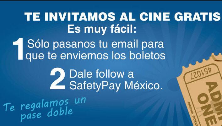 2 boletos para el cine gratis siguiendo a SafetyPay en Twitter