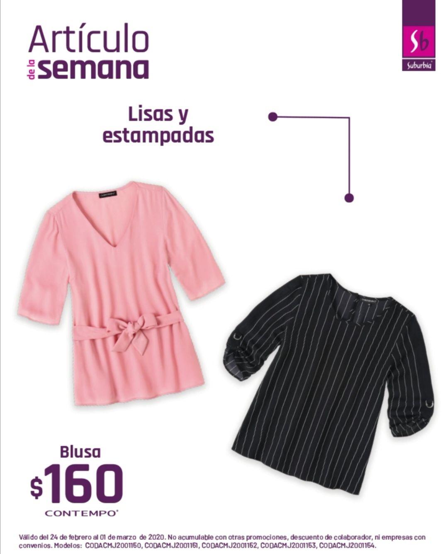 Suburbia: Artículo de la Semana del 24 Febrero al Domingo 1 Marzo: Blusa Contempo $160