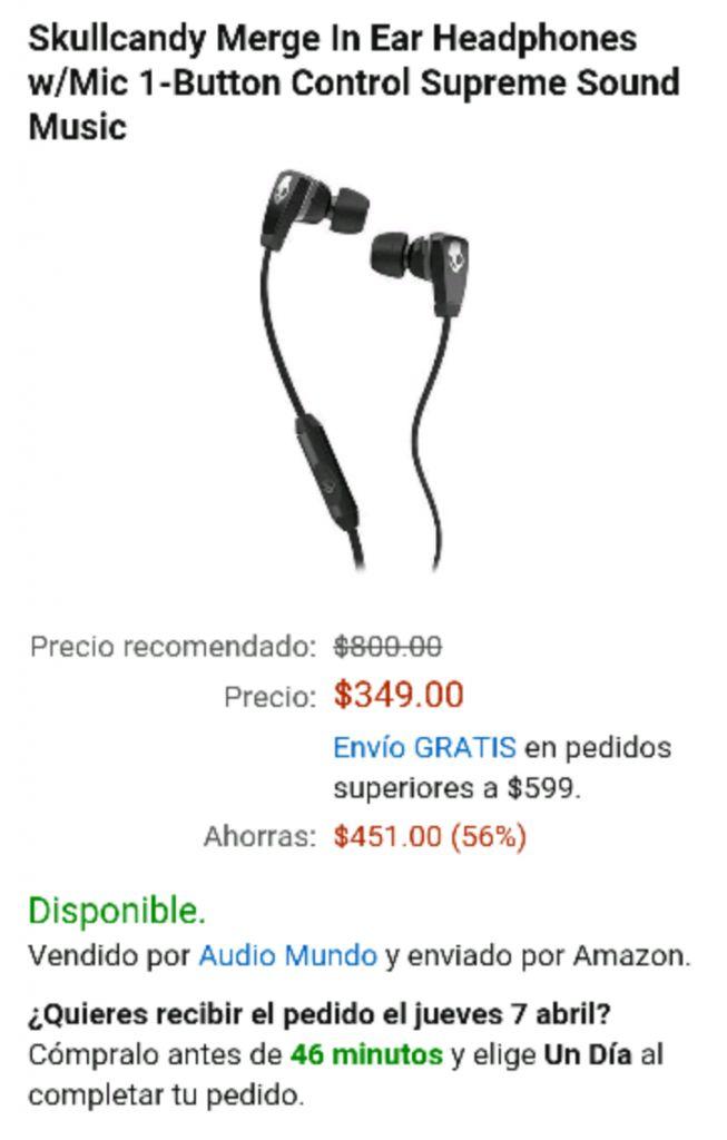 Amazon: Skullcandy Merge In Ear Headphones a $349