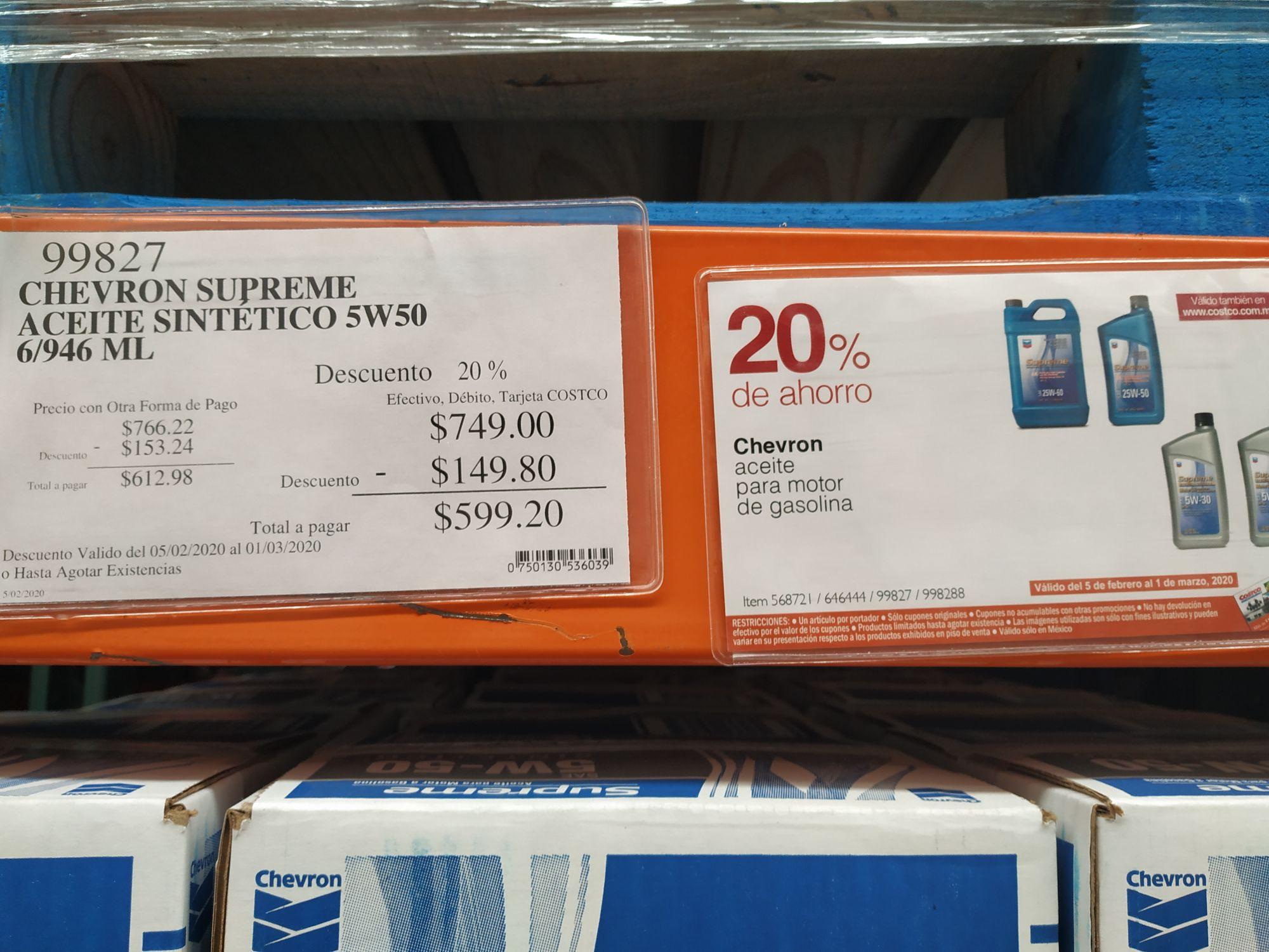 Costco: Aceite sintético Chevron 5w50 ó 5w30