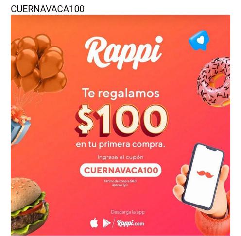Rappi Cuernavaca: $100 de descuento en tu primera compra