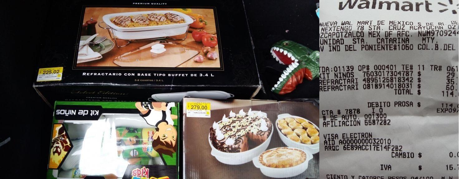 Walmart: refractario tipo buffet y tipo reposteria, kit de niño ben 10
