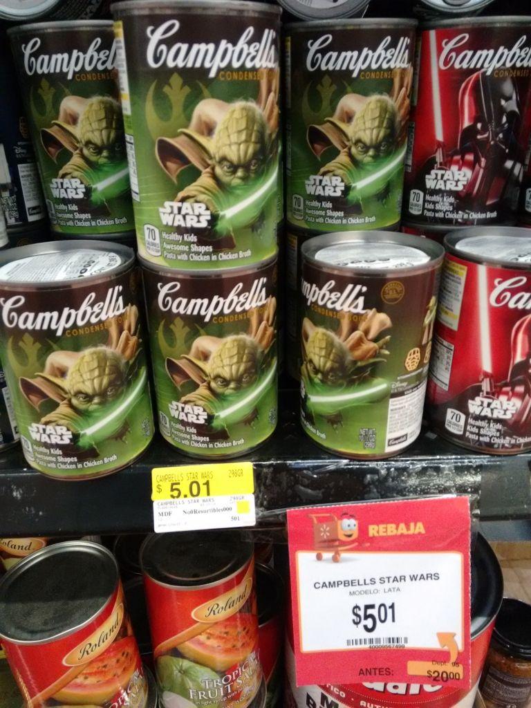 Walmart  Niño Obrero (Zapopan): sopa Campbell's Star Wars a $5.01