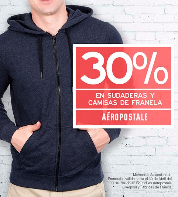 Aeropostale: 30% de descuento en sudaderas y camisas de franela