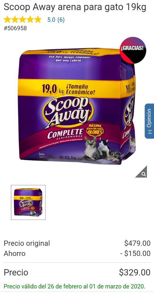 Costco: Arena para gato Scoop Away 19 kg