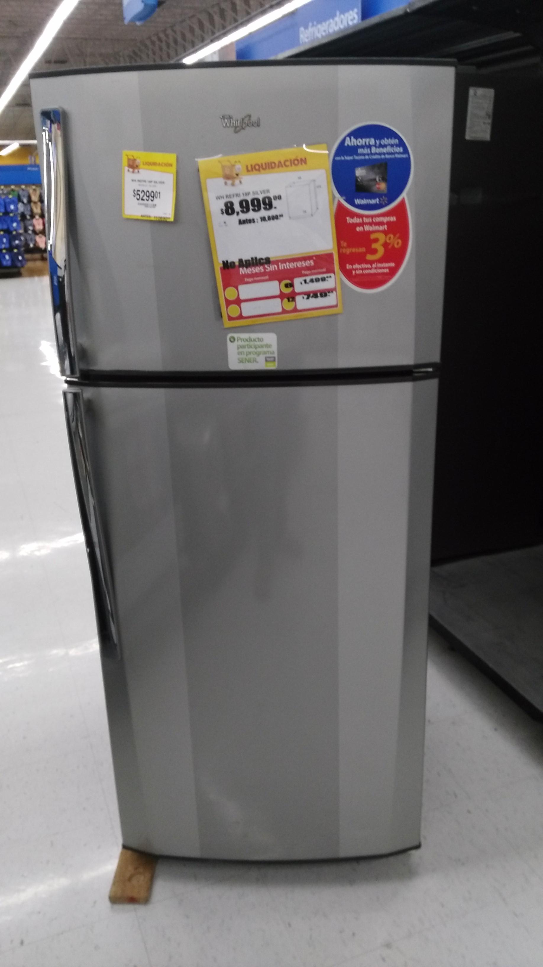 Walmart Liquidación de Refrigeradores (Whirlpool 18p)