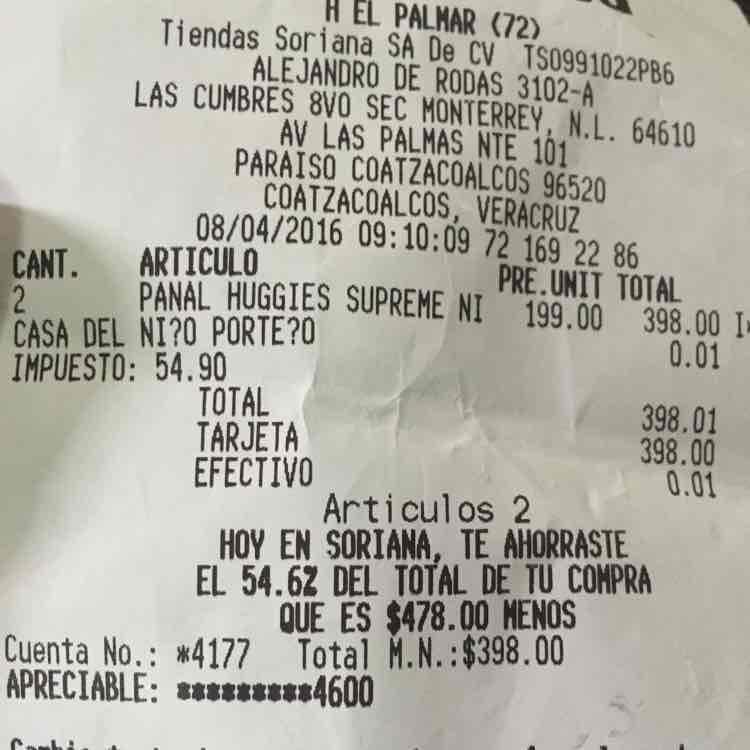 Soriana Hiper Coatzacoalcos Veracruz: 2 paquetes de pañales Huggies Supreme + toallitas gratis a $199