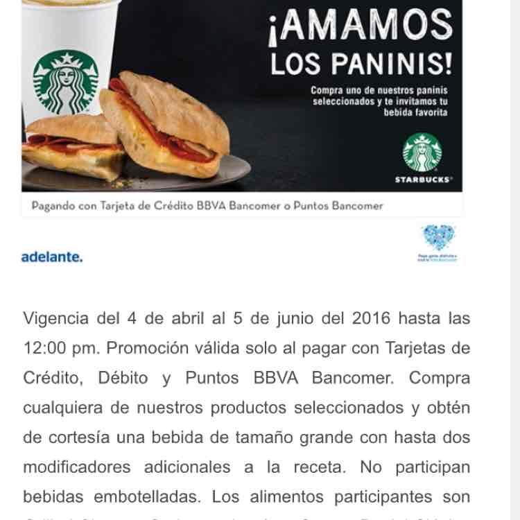 Starbucks: Bebida gratis al comprar panini y pagar con Bancomer