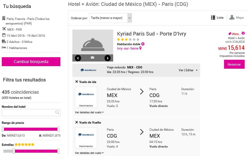 Liverpool en línea: Viaje vuelo rendondo MEX-PAR-MEX y hospedaje en París por $15,614