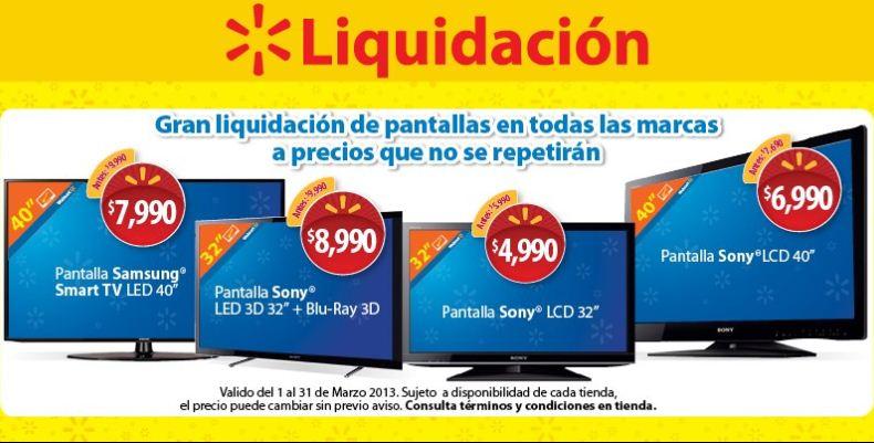 Liquidación de pantallas en Walmart