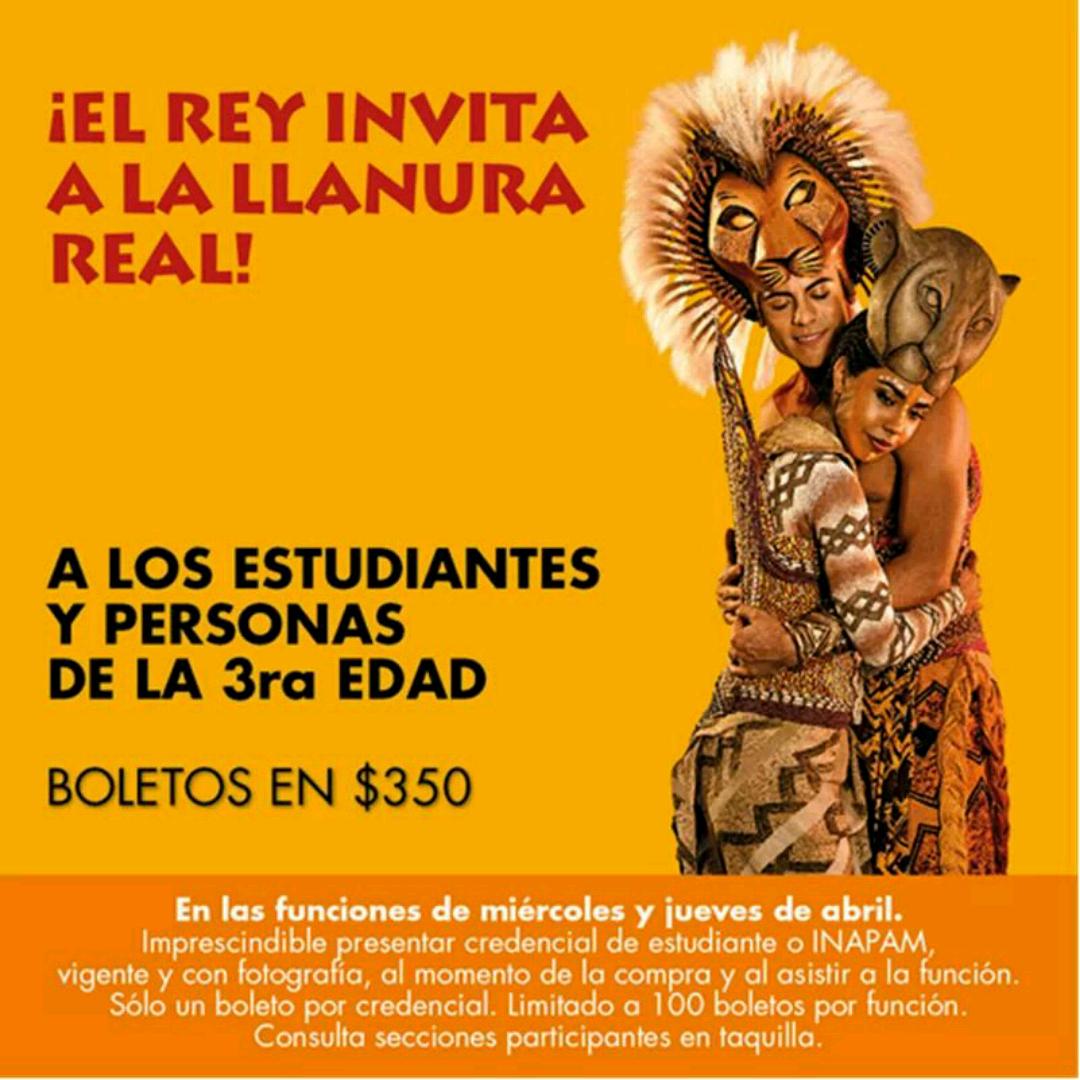Teatro Telcel: Boletos para el Rey León a $350.00 para estudiantes y personas de la 3ra edad