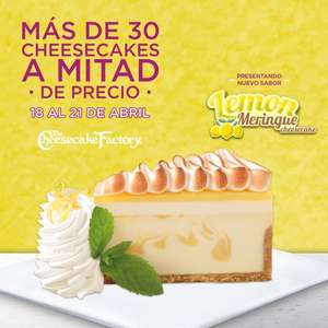 The Cheesecake Factory: 30 pasteles a mitad de precio (18-21 abril)