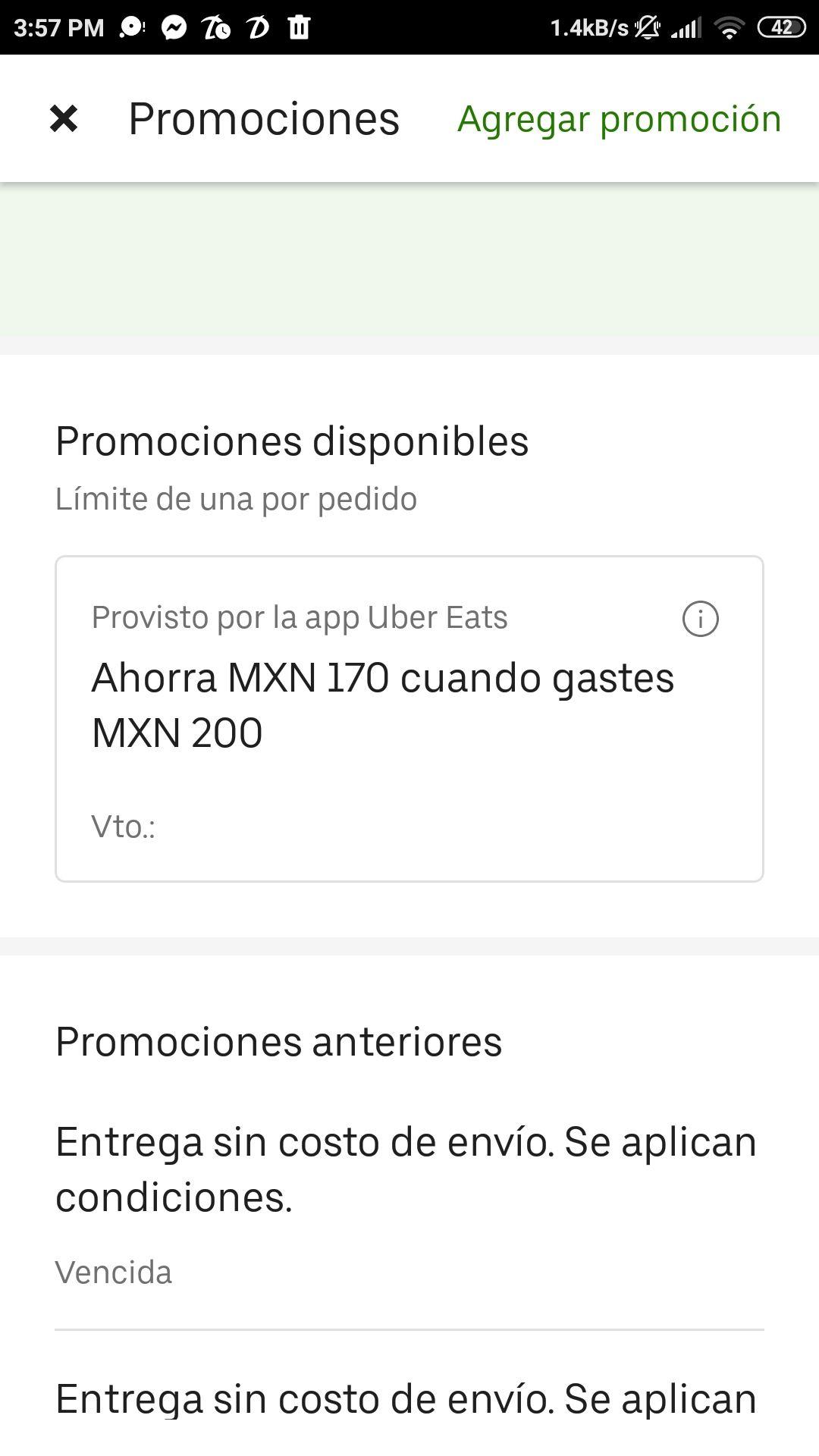 Uber Eats: Descuento de $170 en compra mínima de $200 (cuentas nuevas)