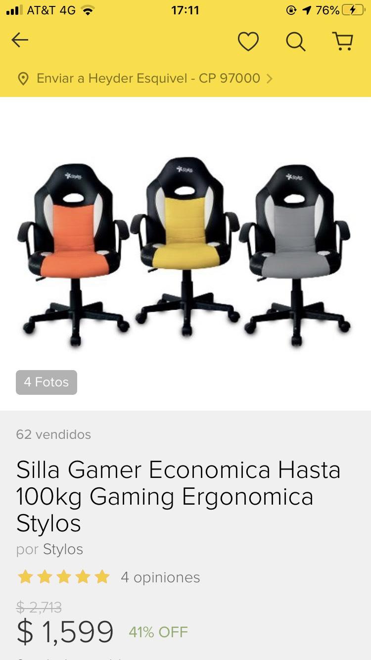 Tienda Oficial Stylos en Mercado Libre: Silla gamer económica