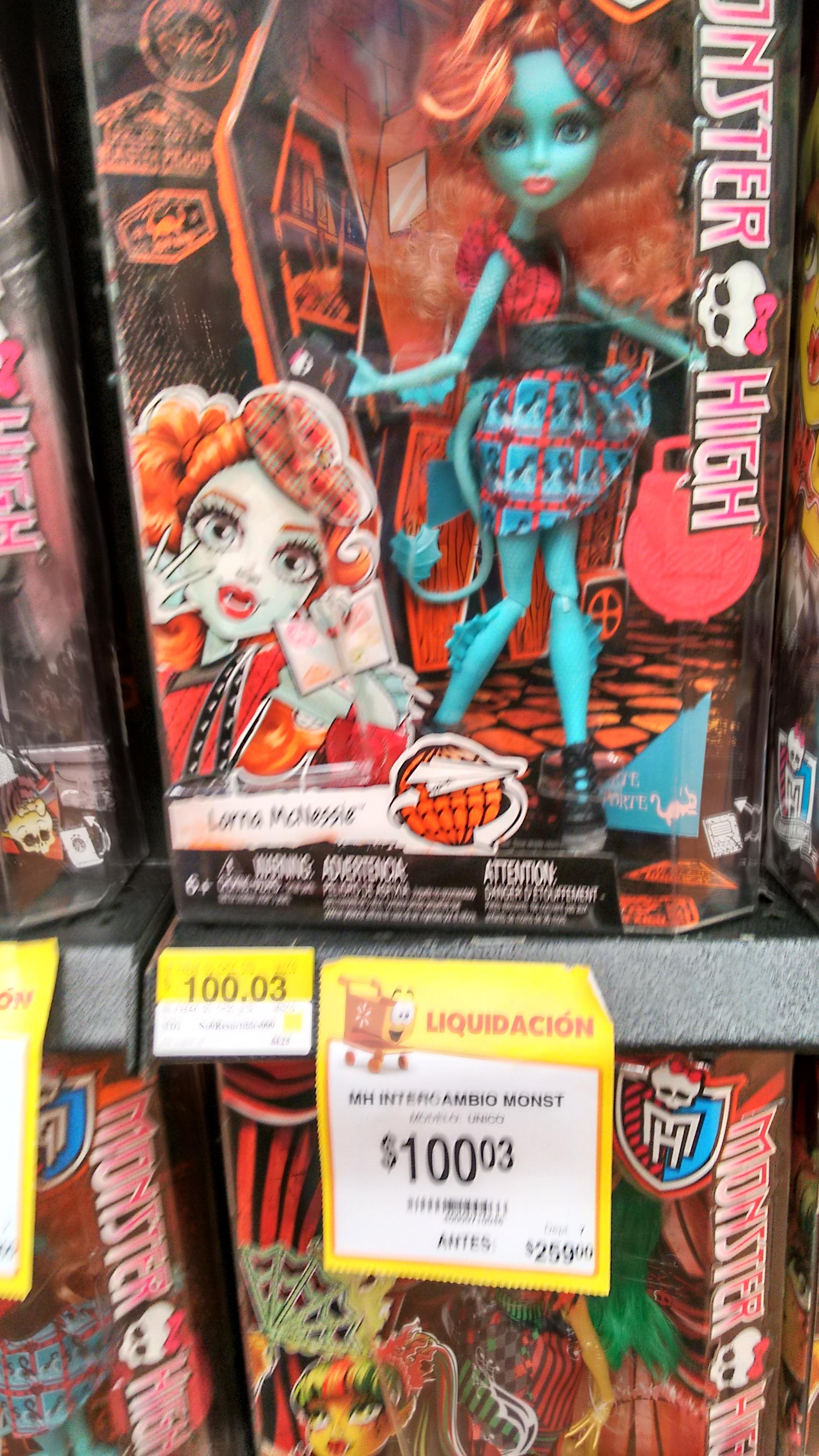 Walmart: Monster High varios modelos +60% de descuento