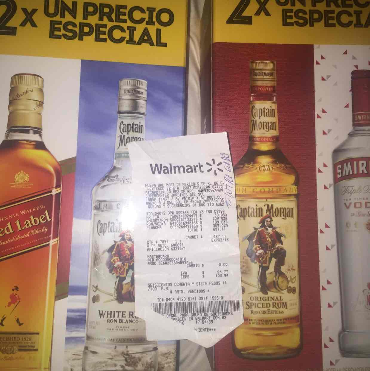 Walmart: Red Label + Capitán Morgan Blanco a $209, Smirnoff + Capitán Morgan a $139 y más