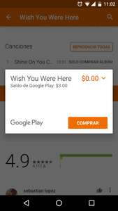 Google Play Music: canción Wish You Were Here de Pink Floyd gratis