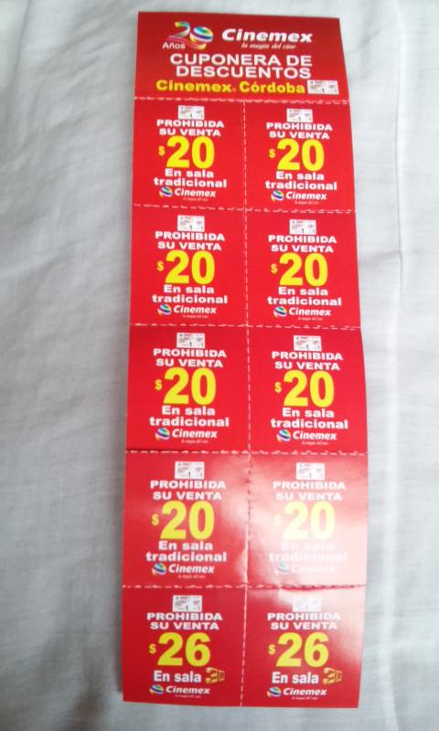 Cuponera Cinemex Cordoba: boletos sala tradicional a $20, sala 3D a $26