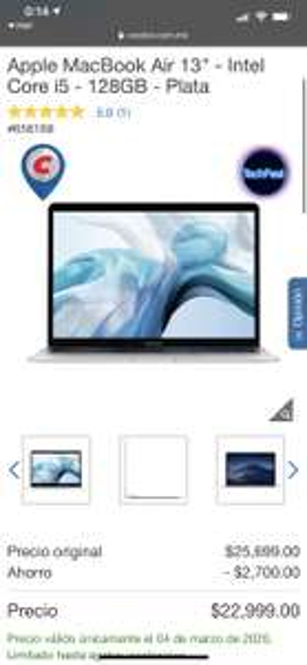"""Costco: MacBook Air 13"""" intel Core i5 128Gb Dorada"""