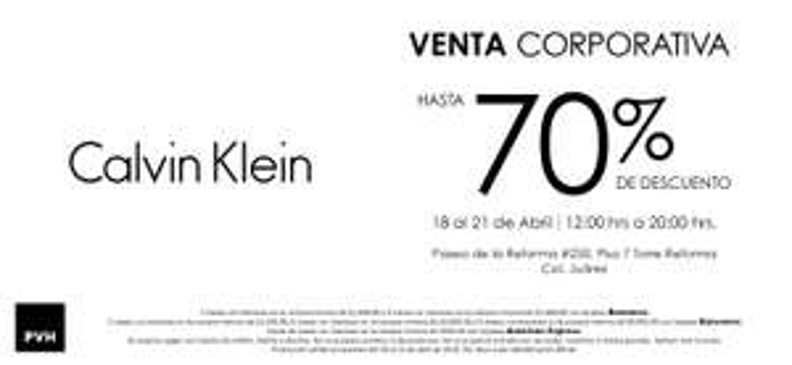 Venta corporativa Calvin Klein del 18 al 21 de abril CDMX