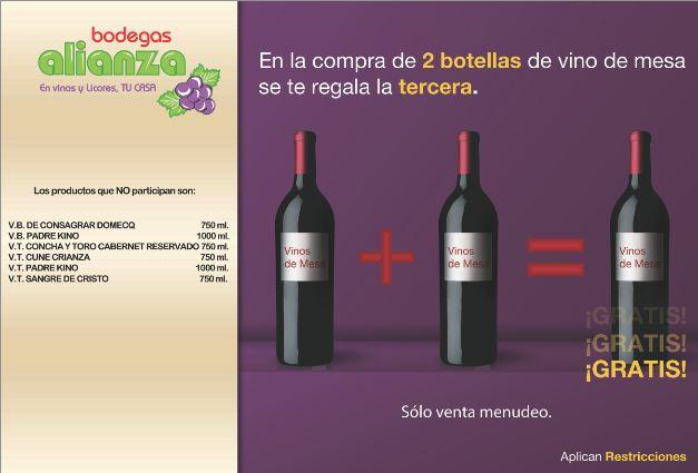 Bodegas Alianza: 20% de descuento en brandys y rones y 3x2 en vinos de mesa