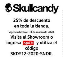 Skullcandy: 25% de descuento en toda la tienda aplicando cupón, vigencia: 31/03/2020
