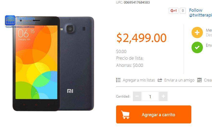 Walmart en línea: Smartphone Xiaomi RedMi 2 Pro 16Gb Gris a $2,499