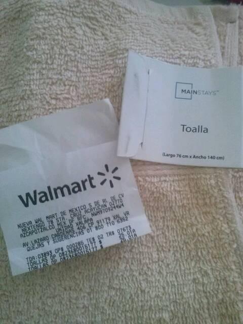 Walmart Xalapa: toalla para baño 76 x 140cm a $25.01