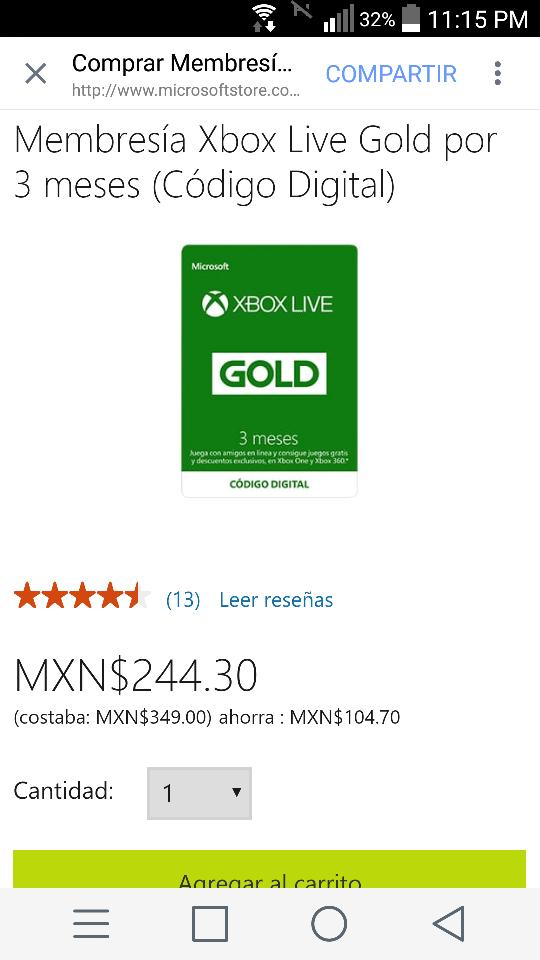 Microsoft Store: Xbox live gold de 3 meses a $244.30