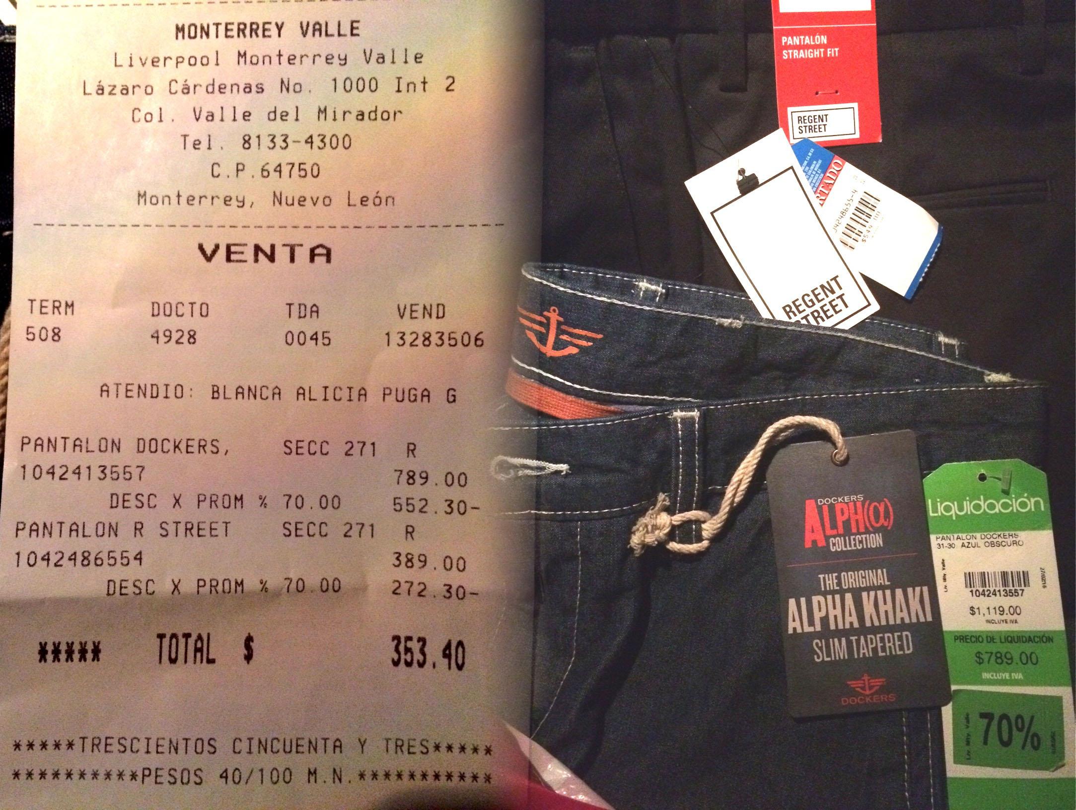 Liverpool suc. Valle Oriente MTY: Pantalón Dockers rebajado de $1119 a $236