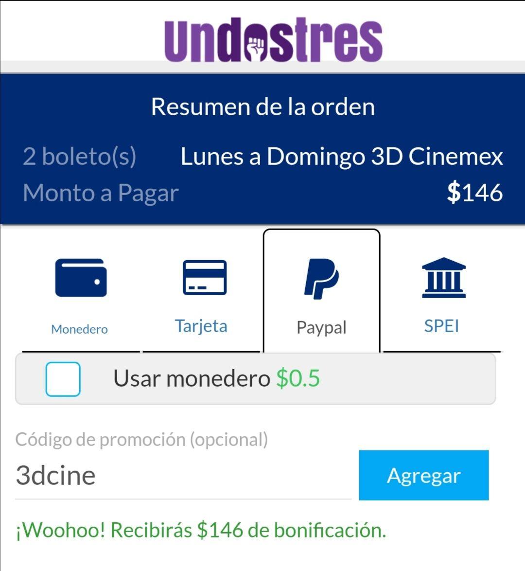 UnDosTres: 100% cashback en compra de boletos de cine