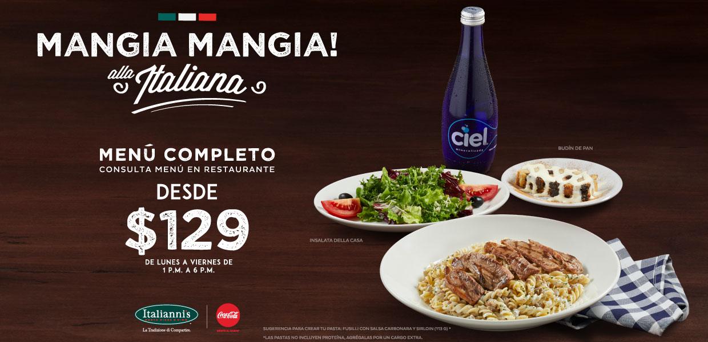 Italiannis Menú completo por $129: Mangia mangia alla Italiana