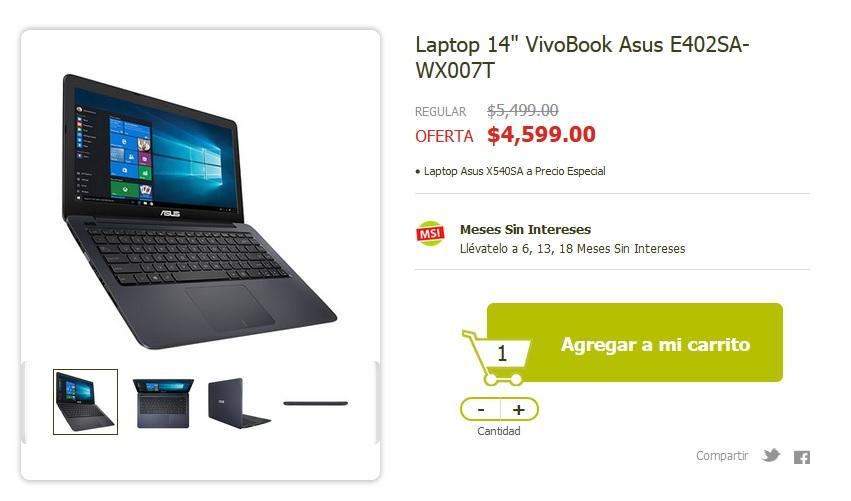 """Soriana en línea: Laptop 14"""" VivoBook Asus a $4,599"""