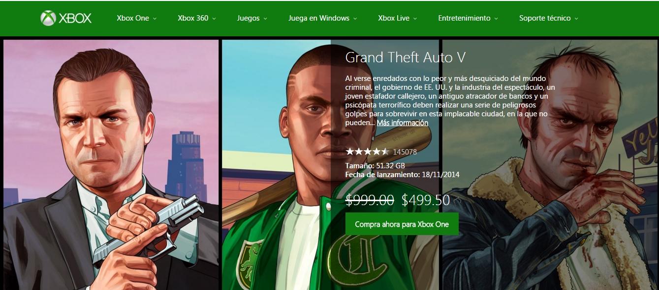 Xbox Marketplace: GTA V Xbox One