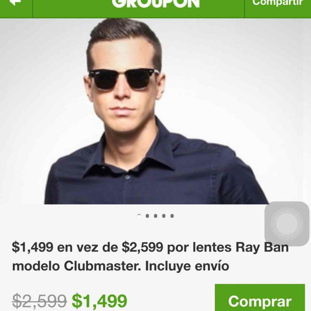 Gruopon: lentes Ray Ban Clubmaster a $1,499