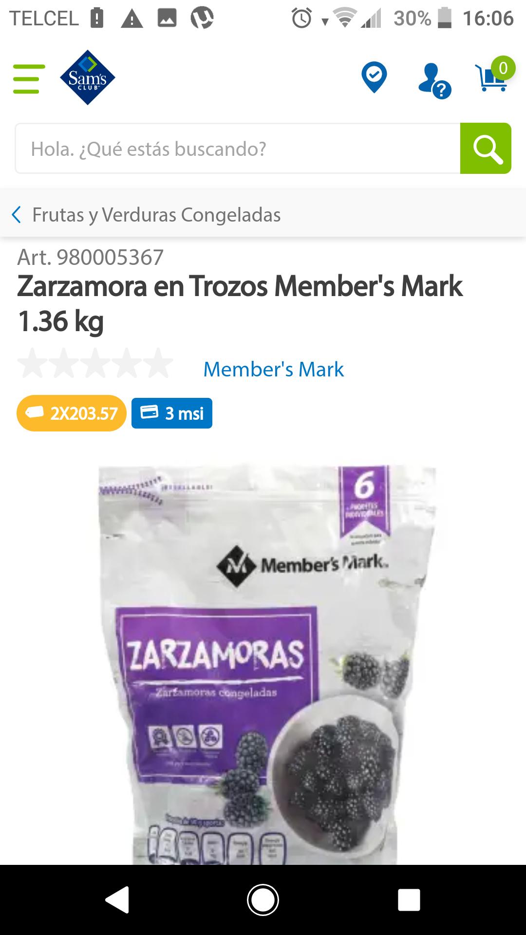 Sam's Club: Zarzamora congelada 2.70 kilos
