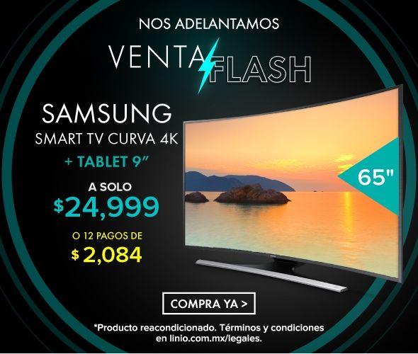 """Linio: Samsung Curva 65"""" 4K + Tablet 9"""" a pagos de 12 meses"""