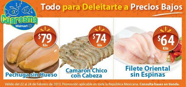 Ofertas de carnes y mariscos en y Walmart y Chedraui febrero 22