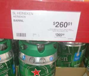 Sam's Club: barril Heineken 5 lts a $260.01