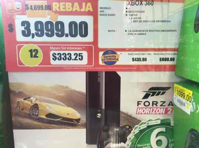 Walmart: xbox 360 No refurbished 500gb +1 juego a $3,999