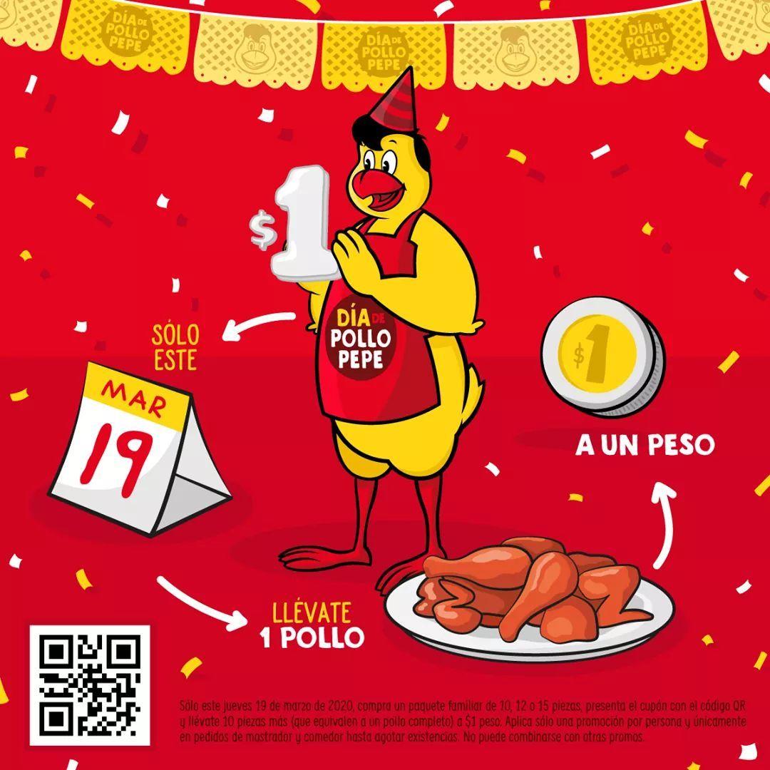 Pollo Pepe: Un pollo por 1$ en la compra de paquete familiar