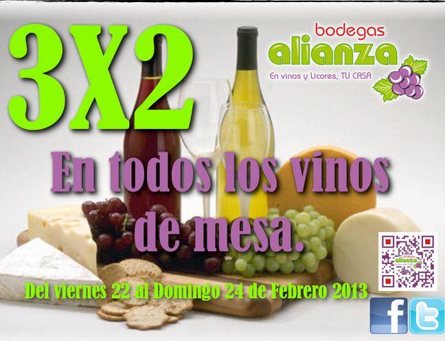 Bodegas Alianza: 3x2 en vinos de mesa y descuento en tequila y whisky