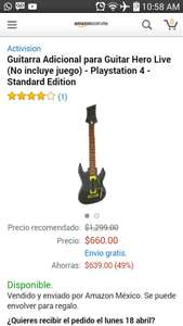 Amazon: Guitarra adicional para Guitar Hero Live para Playstation 4 a $660