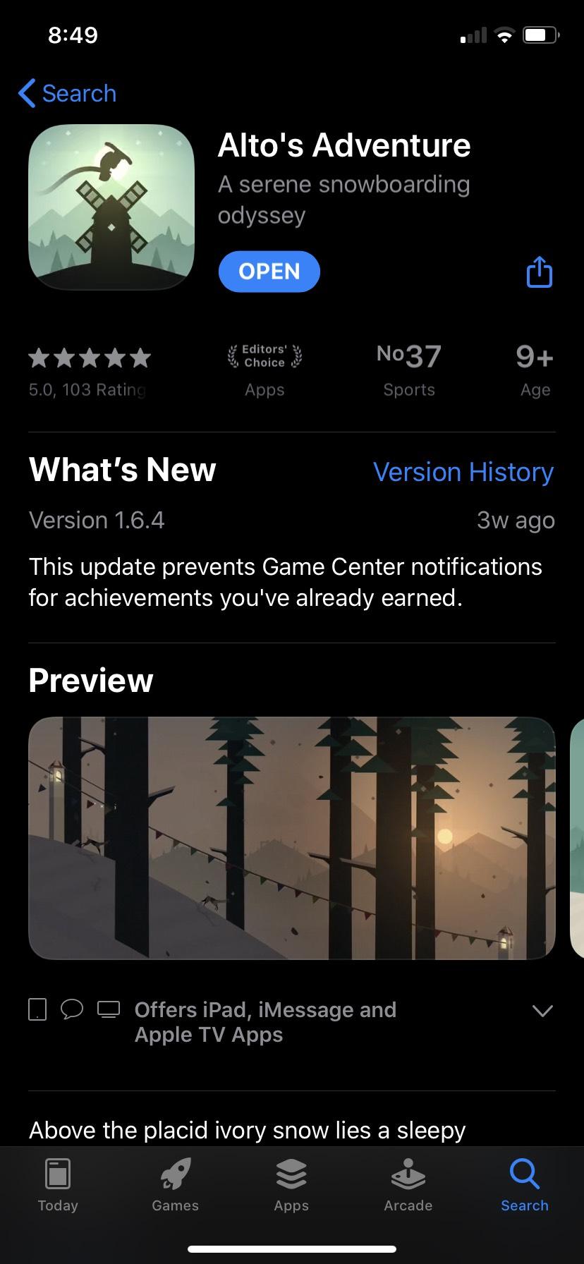 Apple Store Altos adventure Gratis Para iOS
