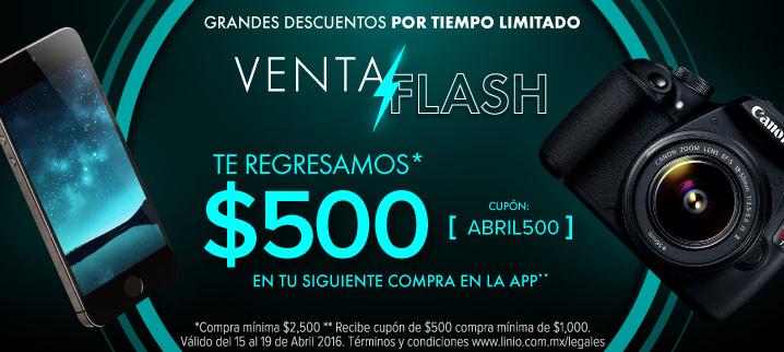 Linio: Venta Flash, Cashback de $500 con compra mínima de $2,500