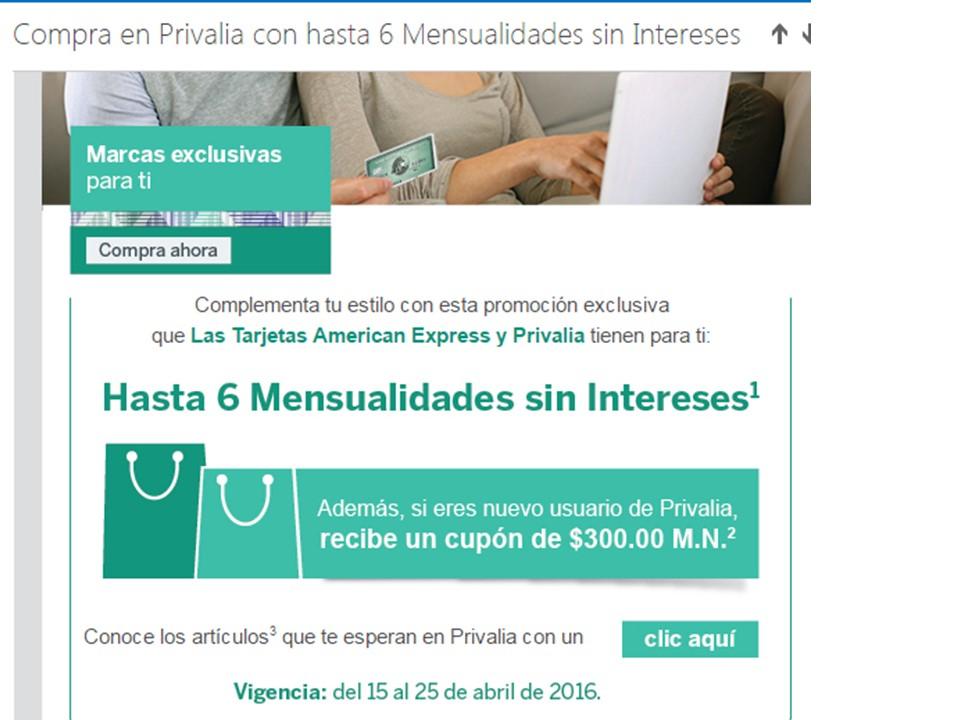 Privalia: MSI con American Express y bonificación de $300
