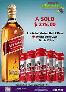 Bodegas Alianza: 10 latas de Tecate de  475 ml + Johnnie Walker Red a $275